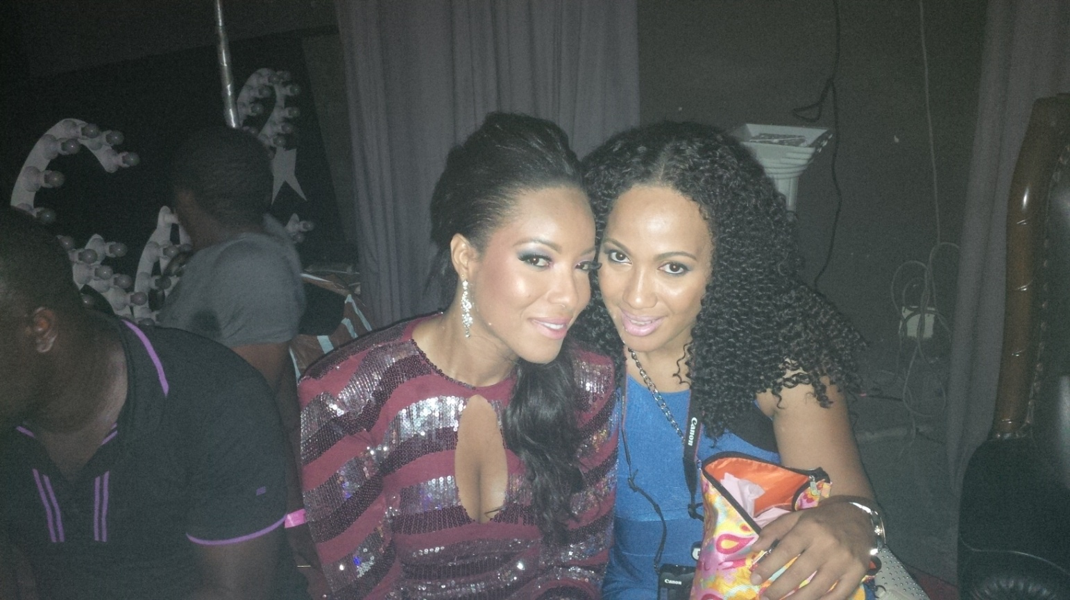 Sandra Don Arthur on set with her client, Joselyn Dumas