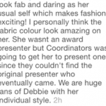 """""""We are huge fans of Debbie with her individual style…but she wasn't the original award presenter"""", Glitz Style Awards Organizers speak"""