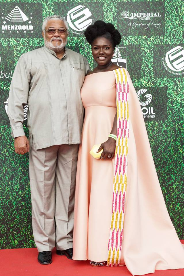 Former President Rawlings (left) Dentaa Amoateng MBE (right)