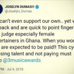 A single Tweet: Joselyn Dumas calls out 3 Music Awards Organizers to do the needful