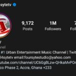 After a great pursuit of foresight, comes the pursuit of history as…4SYTE TV becomes first Urban Entertainment, Music Channel in Africa to hit the 1 Million Followers mark on Instagram